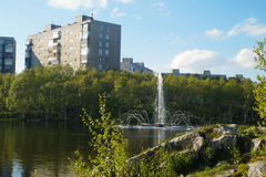 Fonte no lago park da cidade na província Foto de Stock Royalty Free