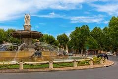Fonte no lugar de la Rontonde em Aix-en-Provence, França Imagem de Stock Royalty Free