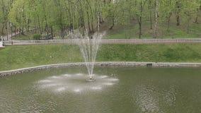 Fonte no parque em um dia ensolarado brilhante video estoque