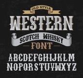 Fonte occidentale dell'etichetta con progettazione della decorazione illustrazione di stock