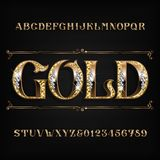 Fonte ornamentado do alfabeto do ouro Letras e números dourados do joalheiro com pedras preciosas do diamante ilustração royalty free