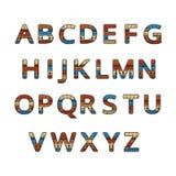 Fonte ornamentale etnica azteca Alfabeto variopinto inglese illustrazione vettoriale