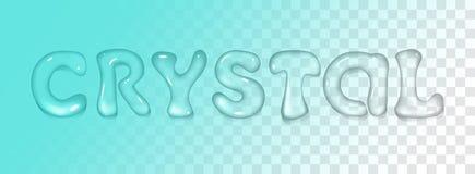Fonte realistica dell'acqua di vettore su fondo trasparente Iscrizione del cristallo con lettere illustrazione di stock