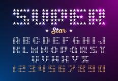 Fonte retro do estilo do disco feita das estrelas Imagens de Stock Royalty Free
