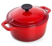 Fonte rouge faisant cuire le pot avec la poignée noire, d'isolement sur b blanc Image libre de droits