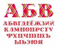 Fonte russa, linee di colore su fondo rosso, vettore Immagine Stock