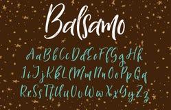 Fonte scritta a mano di calligrafia Alfabeto di vettore Lettere disegnate a mano Fotografie Stock