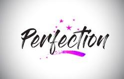 Fonte scritta a mano di parola di perfezione con il vettore vibrante dei coriandoli e di Violet Purple Stars illustrazione vettoriale