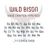 Fonte selvaggia disegnata a mano del bisonte Immagine Stock