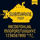 Fonte sottomarina disegnata a mano latino Immagine Stock Libera da Diritti