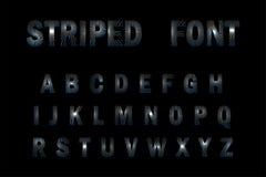 fonte a strisce 3D su fondo nero Fotografie Stock Libere da Diritti