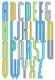 Fonte a strisce decorativa geometrica variopinta, lettere Fotografia Stock Libera da Diritti