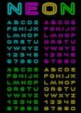 Fonte tipografica al neon di colore Immagine Stock