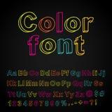 Fonte tipografica astratta dell'illustrazione della mano di colore Immagine Stock Libera da Diritti
