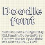 Fonte tipografica astratta di doodle illustrazione di stock