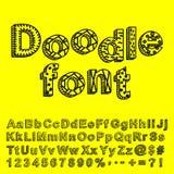 Fonte tipografica astratta di doodle Immagine Stock