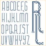 Fonte tipografica blu del tubo Fotografia Stock Libera da Diritti