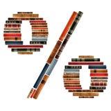 Fonte tipografica composta di spine dorsali dei libri Fotografie Stock