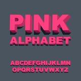 fonte tipografica 3D Lettere rosa tridimensionali di alfabeto Illustrazione di vettore Fotografie Stock