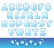 Fonte tipografica del Aqua Fotografie Stock Libere da Diritti
