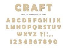 Fonte tipografica del mestiere Lettere e numeri di ABC del cartone isolati su bianco Fotografia Stock Libera da Diritti