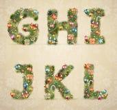 Fonte tipografica dell'albero di Natale con le bagattelle Fotografia Stock