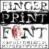 Fonte tipografica dell'impronta digitale Immagini Stock Libere da Diritti