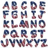 Fonte tipografica della bandiera americana Immagine Stock
