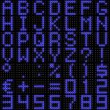 fonte tipografica della matrice di punti 3D con la riflessione Immagine Stock