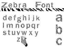 Fonte tipografica della zebra Fotografia Stock Libera da Diritti