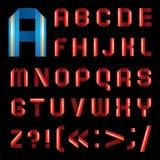Fonte tipografica di ABC dal nastro di carta colorato - lettere stabilite illustrazione di stock