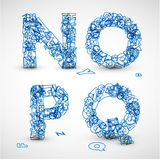 Fonte tipografica di vettore fatta dalle lettere blu dell'alfabeto Fotografia Stock Libera da Diritti