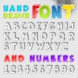 Fonte tipografica disegnata a mano di schizzo Fotografia Stock
