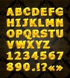 Fonte tipografica dorata Immagine Stock Libera da Diritti