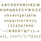 Fonte tipografica dorata Immagini Stock Libere da Diritti