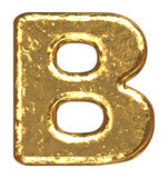 Fonte tipografica dorata. Lettera B. Fotografia Stock