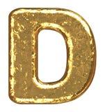 Fonte tipografica dorata. Lettera D. Immagini Stock Libere da Diritti