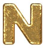 Fonte tipografica dorata. Lettera N. Immagini Stock