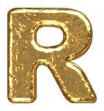 Fonte tipografica dorata. Lettera R. Immagini Stock Libere da Diritti