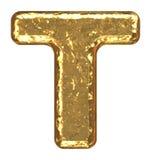 Fonte tipografica dorata. Lettera T. Fotografia Stock