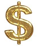 Fonte tipografica dorata. Segno del dollaro Fotografia Stock