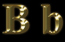 Fonte tipografica esclusiva dell'accumulazione da oro spazzolato - B Immagine Stock Libera da Diritti