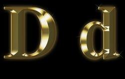 Fonte tipografica esclusiva dell'accumulazione da oro spazzolato - D Immagine Stock