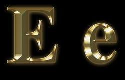 Fonte tipografica esclusiva dell'accumulazione da oro spazzolato - E Fotografia Stock Libera da Diritti