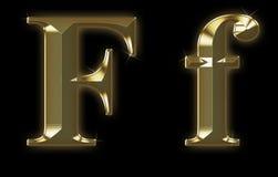 Fonte tipografica esclusiva dell'accumulazione da oro spazzolato - F Immagini Stock