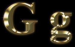 Fonte tipografica esclusiva dell'accumulazione da oro spazzolato - G Immagini Stock