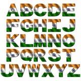 Fonte tipografica indiana della bandierina Fotografia Stock