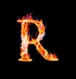 Fonte tipografica magica ardente - R Fotografie Stock