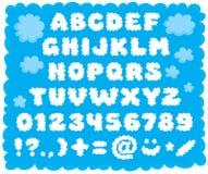 fonte tipografica Nube-a forma di Immagine Stock