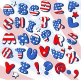 Fonte tipografica patriottica del fumetto Immagini Stock Libere da Diritti